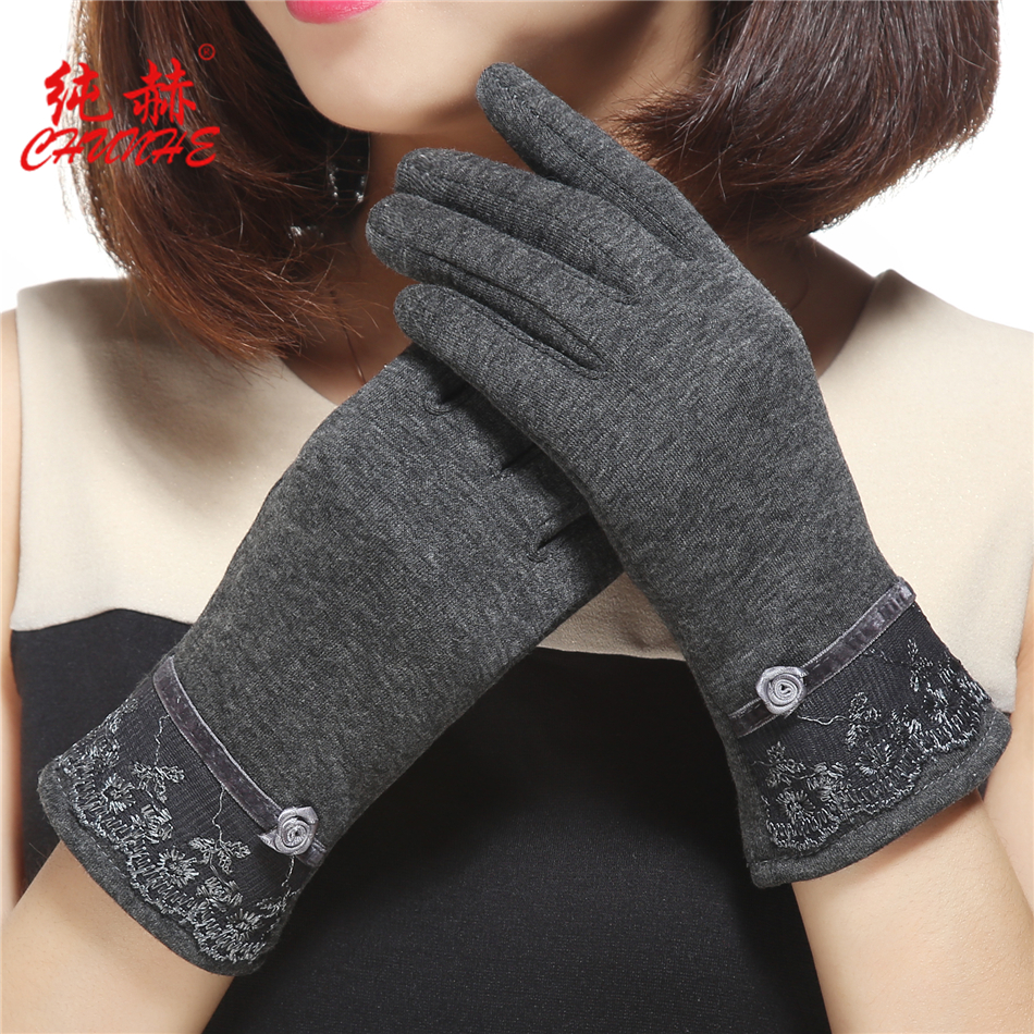 Fashionable touch screen Plush warm autumn and winter female Gloves Lace floret cold riding driving outdoor lovely gloves
