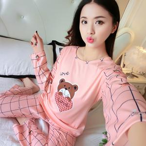 实拍现货睡衣女春季卡通印花格子熊家居服套装