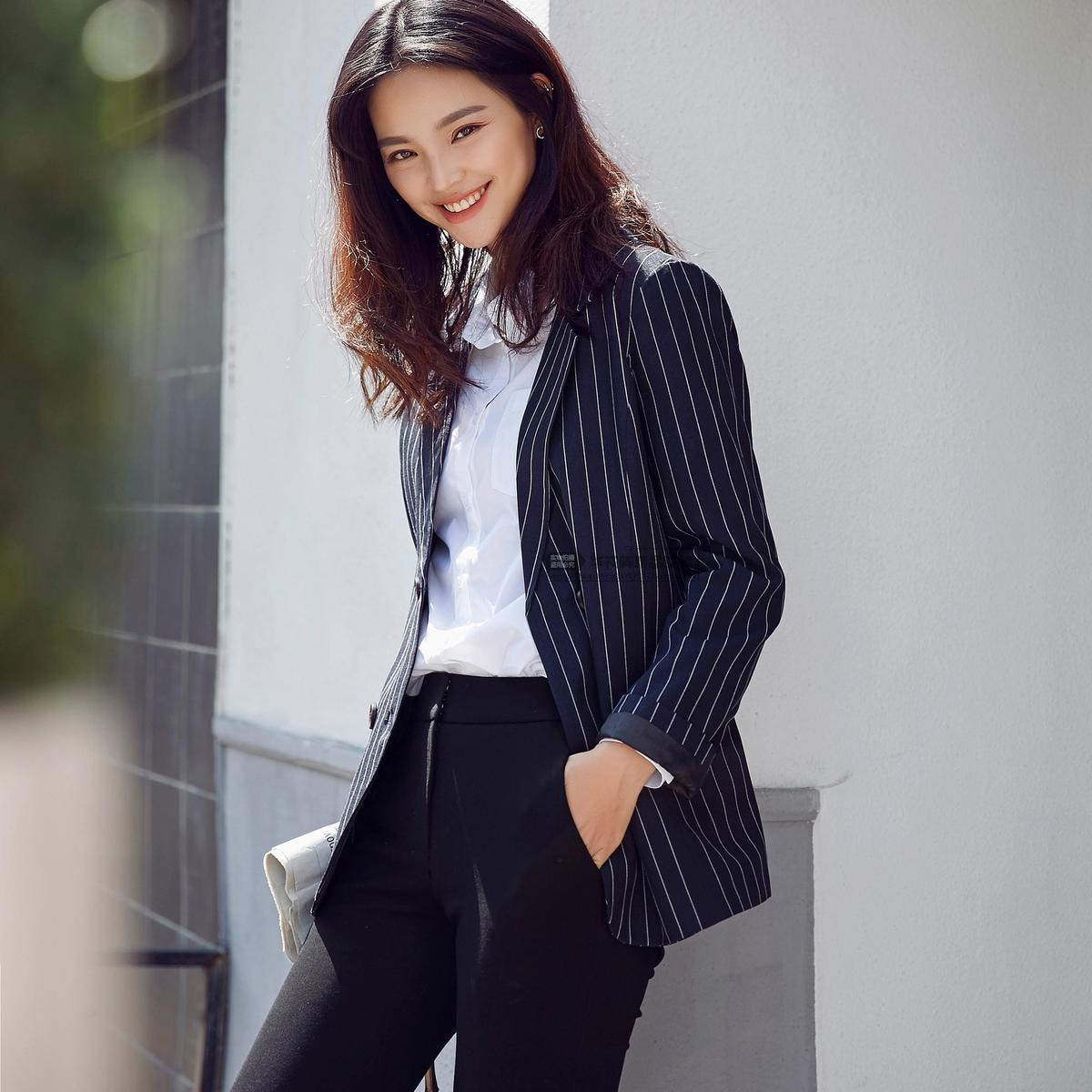 Original high-end boutique fall 2016 new womens firm stripe double layer double row button ol professional suit coat