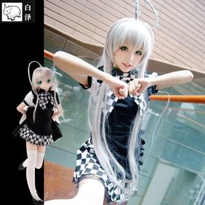 白泽潜行吧奈亚子COS服装全套动漫cosplay女装黑白格子女佣女仆装
