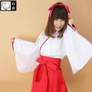 白泽 动漫cosplay女装全套改良振袖巫女服日本短和服