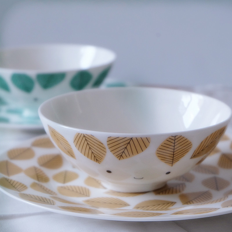 Smiling leaves / Bone China western style flat breakfast plate small soup bowl lovely couple rice bowl