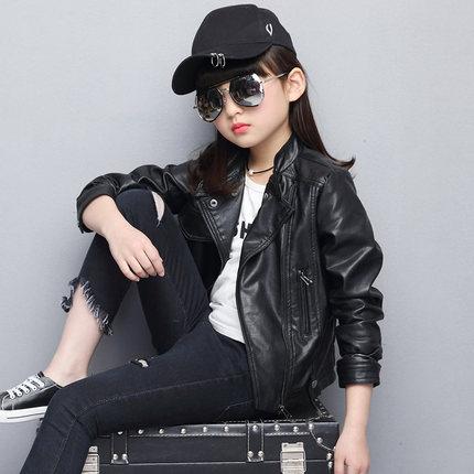 Childrens clothing 2019 new spring girls jacket childrens PU leather jacket spring and autumn Korean girls jacket