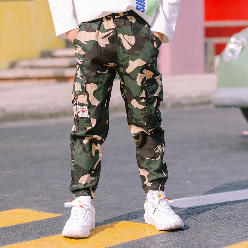 男童迷彩工装裤秋装薄款韩版洋气休闲童裤军裤2020新款中大童百搭
