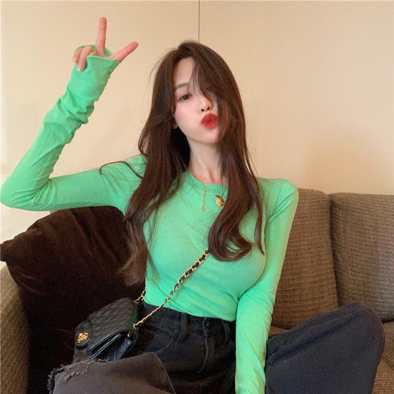 秋装新款2019堆堆长袖百搭打底衫女修身显瘦上衣糖果色韩版T恤潮