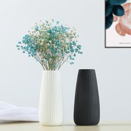 简约手工客厅摆件白色陶瓷花瓶文艺小清新黑色日式欧式干花装饰品图片