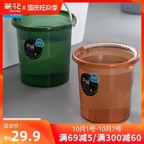茶花水桶塑料家用提水储水用大号加厚桶子手提洗衣桶装水洗澡圆桶