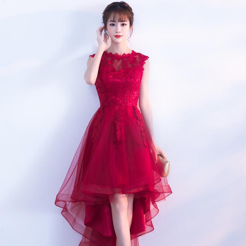 前短后长敬酒服2018新款新娘结婚订婚回门晚礼服红色连衣裙显瘦女