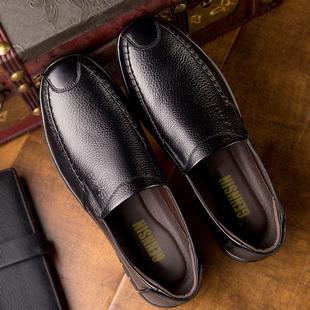 冬季 皮鞋 男鞋 男士 保暖中老年人软底中年休闲加绒棉鞋 子防滑爸爸鞋