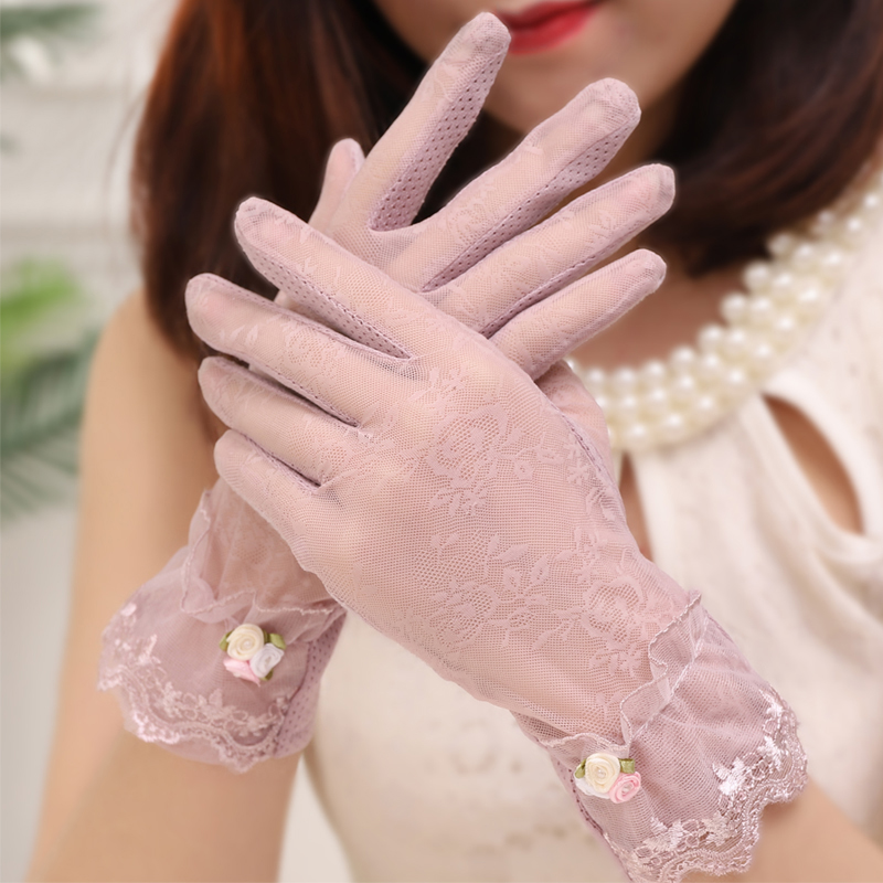Lace black summer anti ultraviolet elegant thin anti slip ice touch screen riding sun protection gloves lady
