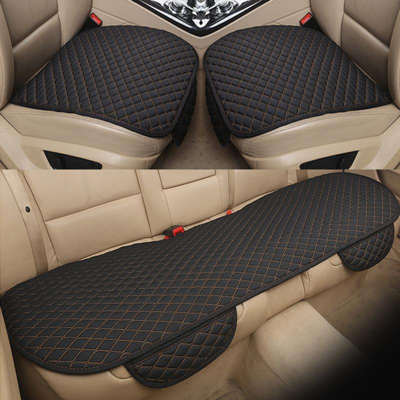 汽车坐垫三件套四季通用亚麻无靠背防滑三人长条单片后排座垫夏季