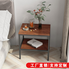 美式乡村简约铁艺实木家具边桌床头柜边几茶几