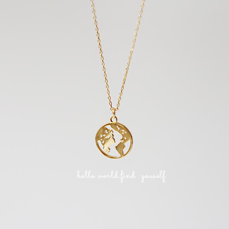 国外设计师world map地图纯银项链满78.00元可用15.6元优惠券