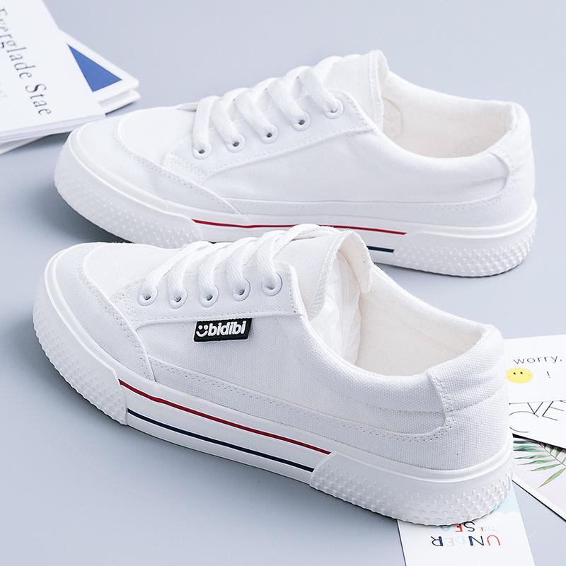 2021年春夏季帆布鞋白色透气小白鞋新款春秋厚底女鞋百搭板鞋薄款