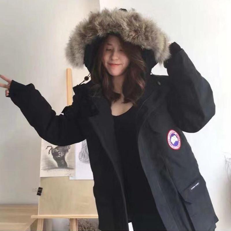 加拿大风户外中长款羽绒服女2021新款滑雪工装派克服男大鹅外套冬