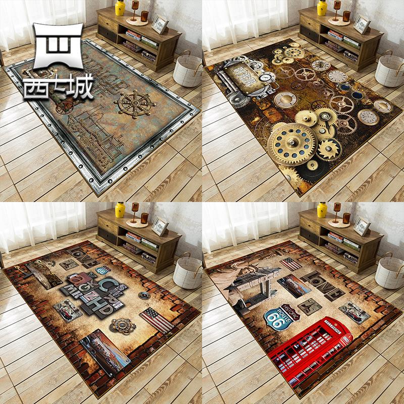 后现代工业风地毯 复古做旧欧美潮牌美式耐脏懒人客厅卧室茶几毯