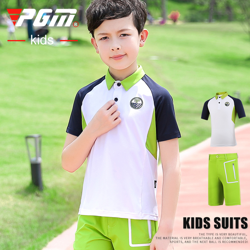 Limited PGM golf clothing childrens golf clothing boys short sleeve T-shirt + shorts summer sports suit