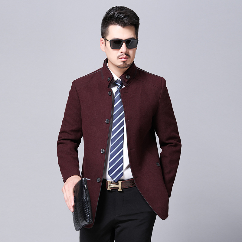 2020 tweed business mens coat wool jacket middle age single stand collar cashmere coat mens autumn