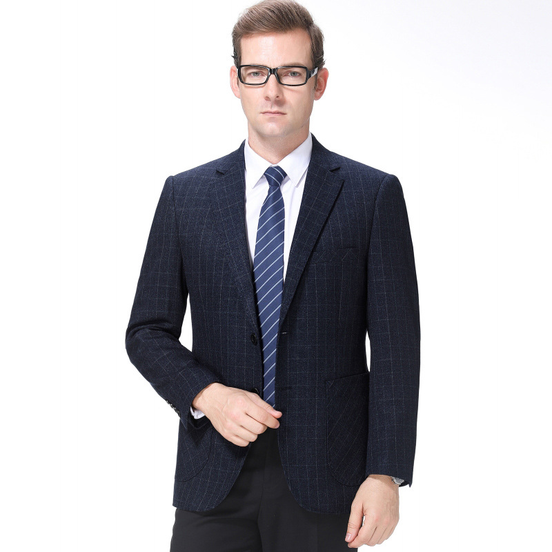 Ouana middle aged mens suit mid long autumn winter single breasted business casual dad suit jacket sheet