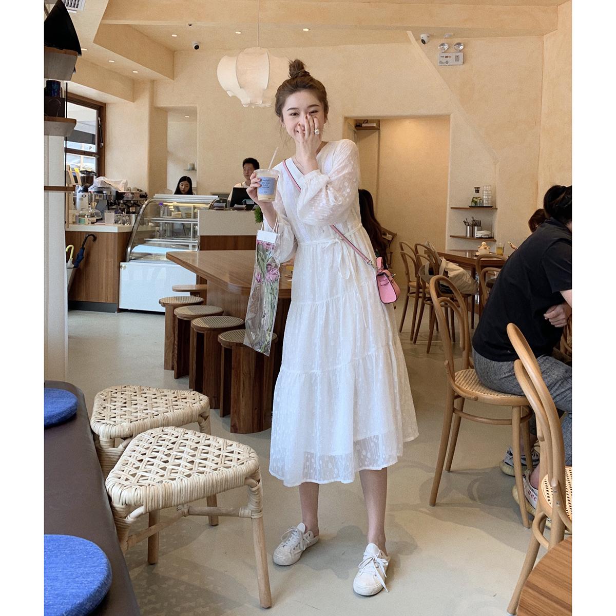胖子王老板白色仙女连衣裙女2019年秋装长袖超仙收腰气质飘逸长裙