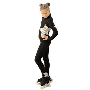 高弹女童训练服溜冰服花样滑冰服滑冰裤子透气儿童加绒表演服套装
