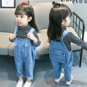 女童背带裤儿童牛仔裤子2020韩版女童春装连体裤女宝宝春秋洋气潮