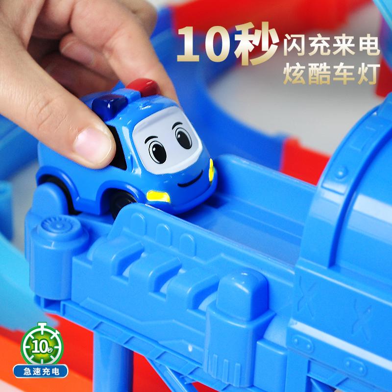 10秒速充嘟当曼儿童玩具火车益智滑行带轨道车男孩电动警车小汽车