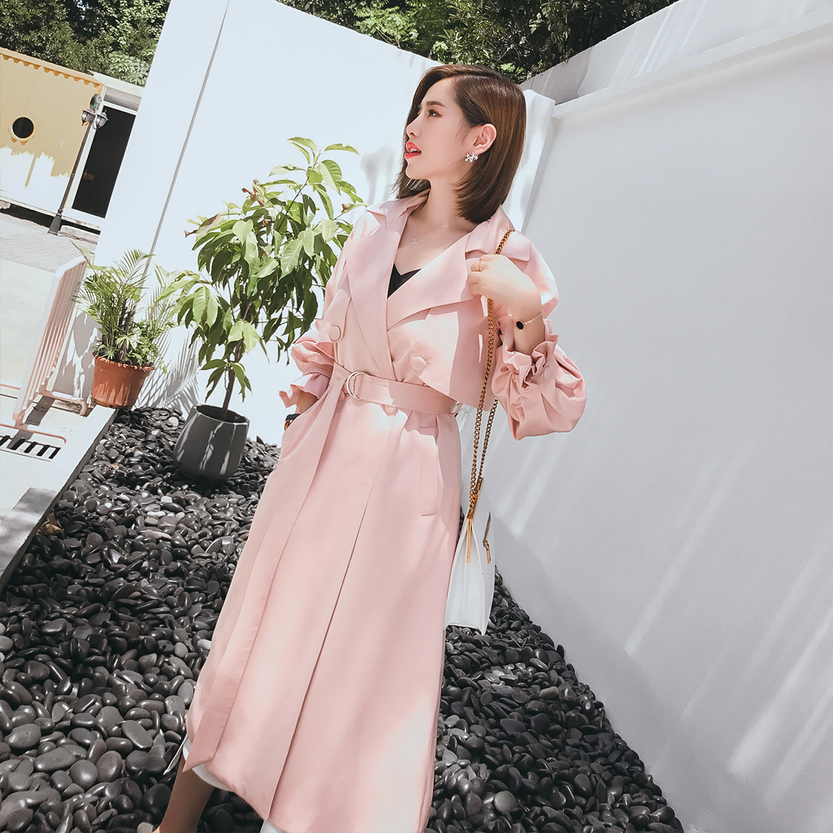 Большой английский ручной работы 2017 весна новый ветровка девочки длинная модель корейский моды джокер значительно тоньше фонарь рукав пальто