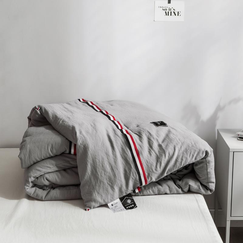 简约水洗棉冬被加厚保暖被子被芯双人春秋被单人空调被亲肤太空被