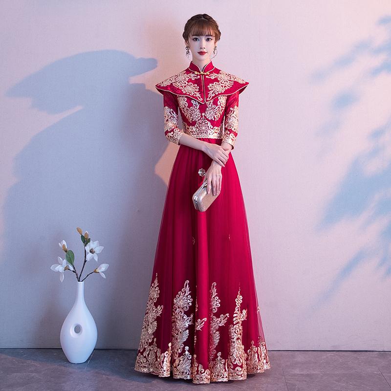 中式敬酒服新娘2019新款孕妇长袖结婚礼服女遮肚子秀禾服中国风冬11-29新券