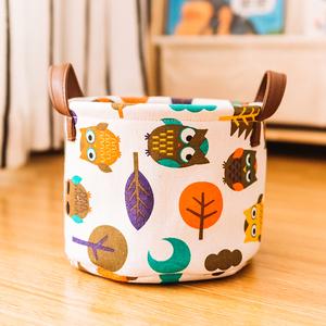可爱卡通布艺办公室桌面杂物饰品整理筐小型玩具收纳篮零食收纳盒
