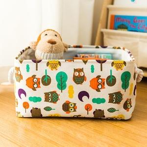卡通风格儿童玩具衣物收纳篮布艺收纳筐带把手可折叠脏衣篮 包邮