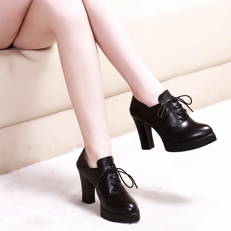 悦丽娜新款欧美真皮超高跟深口单鞋新款女兆女鞋香阁儿正品卡美多