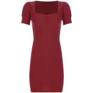 歐美復古宮廷風泡泡袖性感連衣裙女修身顯瘦包臀打底裙顯白小紅裙