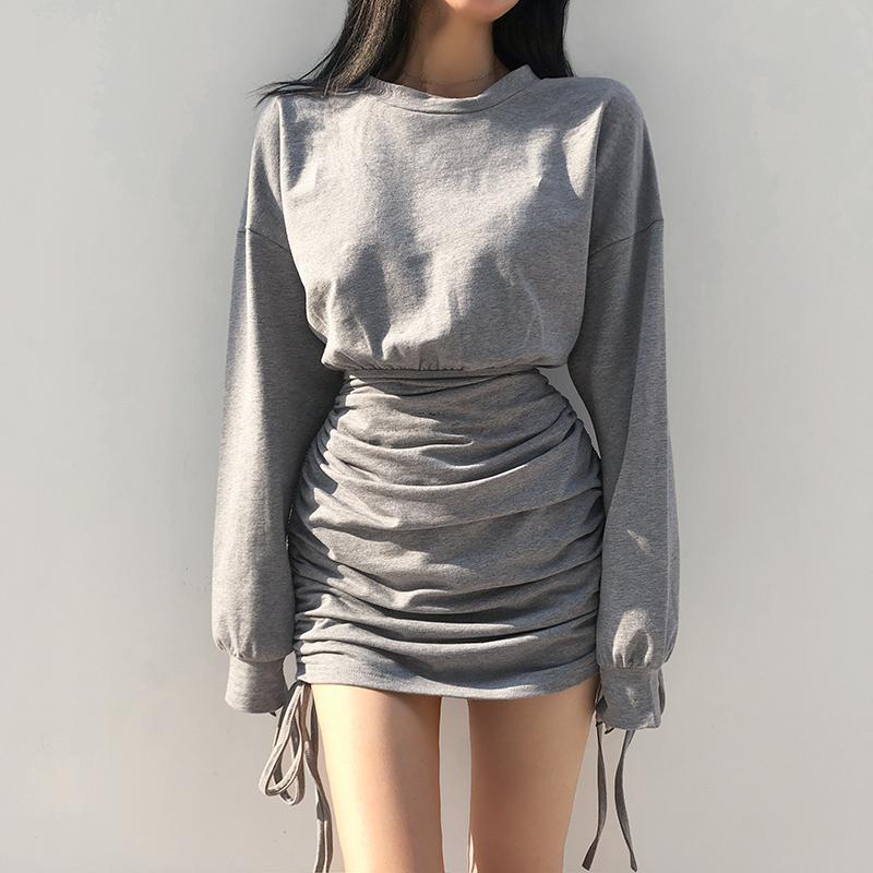 Amyway基础款百搭套头圆领灰色收腰款卫衣裙褶皱设计感抽绳连衣裙