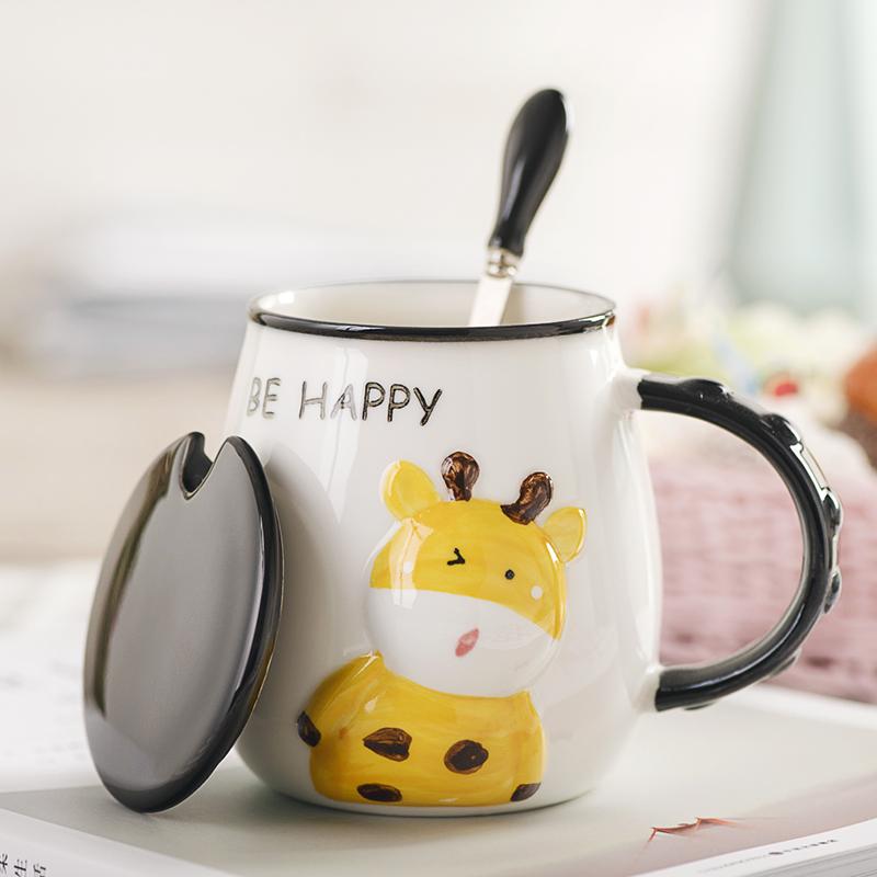 创意可爱陶瓷杯子马克杯带盖勺早餐牛奶茶杯家用喝水咖啡杯大容量