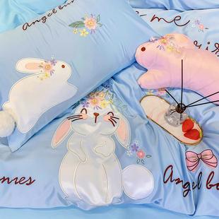 网红款少女心四件套全棉纯棉公主风可爱卡通兔子被套夏季床上用品