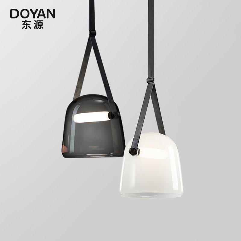 北欧设计师后现代创意玻璃吊灯艺术皮革床头卧室客厅样板房小吊灯