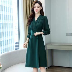 秋季长袖中长裙单件打底V领韩版制服裙修身堆堆袖女装中腰连衣裙