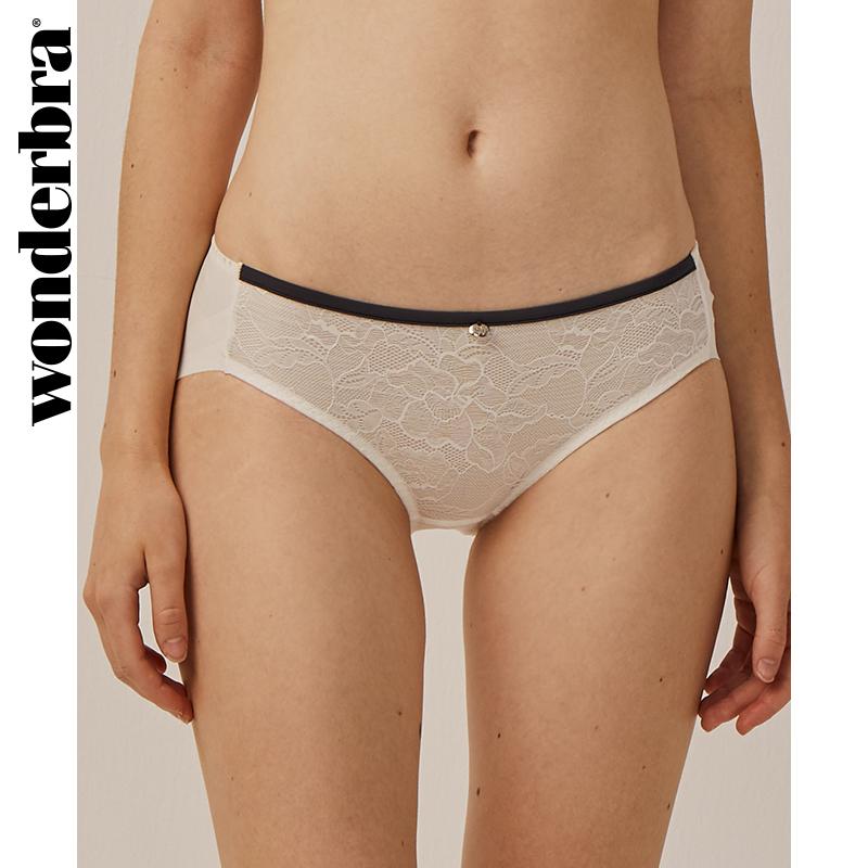 wonderbra性感白色蕾丝三角内裤女士无痕内衣裤中腰透气包臀少女