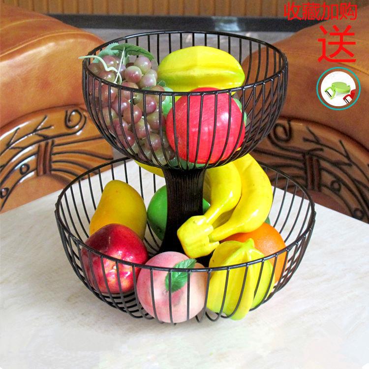 水果盘双层生果盆家用客厅简约多层果篮架现代干果收纳篮点心盘架