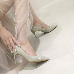 抖音同款网红高跟鞋烫钻水钻水晶单鞋女尖头细跟公主鞋宴会鞋婚鞋