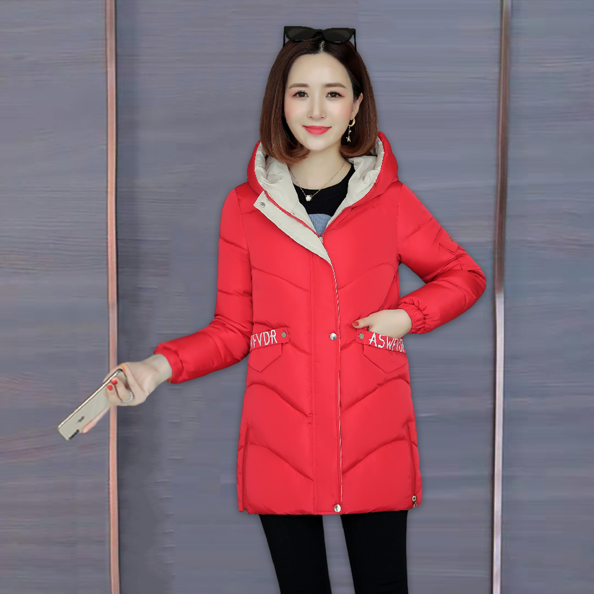 Cotton padded womens middle and long style 2020 winter new loose popular bread and cotton clothes thickened fashionable down jacket