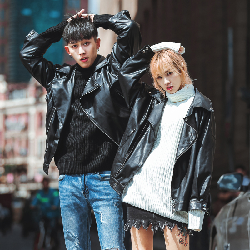 New year spring Hong Kong Style ins Korean couples motorcycle leather coat mens youth coat leather jacket handsome trend