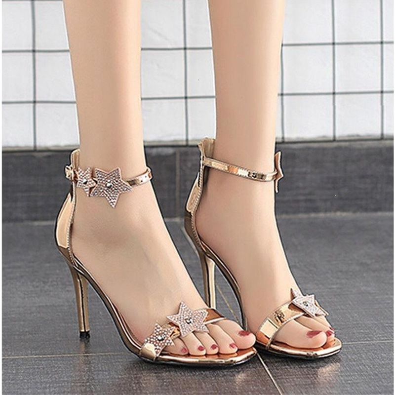 Summer 2020 new star sandals female star with peep toe fashion sexy one line buckle strap slim heel high heel shoes