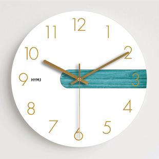 創意時尚簡約北歐客廳臥室木質石英掛鐘現代個性靜音時鐘墻鐘634