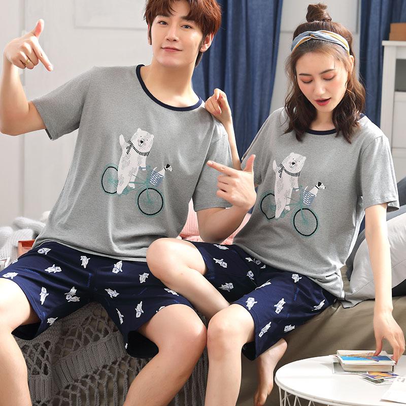 夏季新情侣纯棉睡衣短袖纯棉套装夏天韩版可爱宽松薄款男女家居服