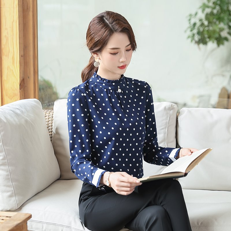 New style professional wave dot woven shirt Bohemian casual Korean work clothes long sleeve autumn winter Pullover