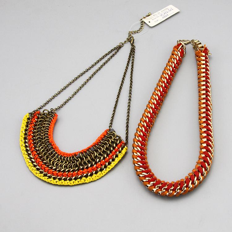 E creative hand knitting rare orange national exaggerated designer Necklace sweater chain