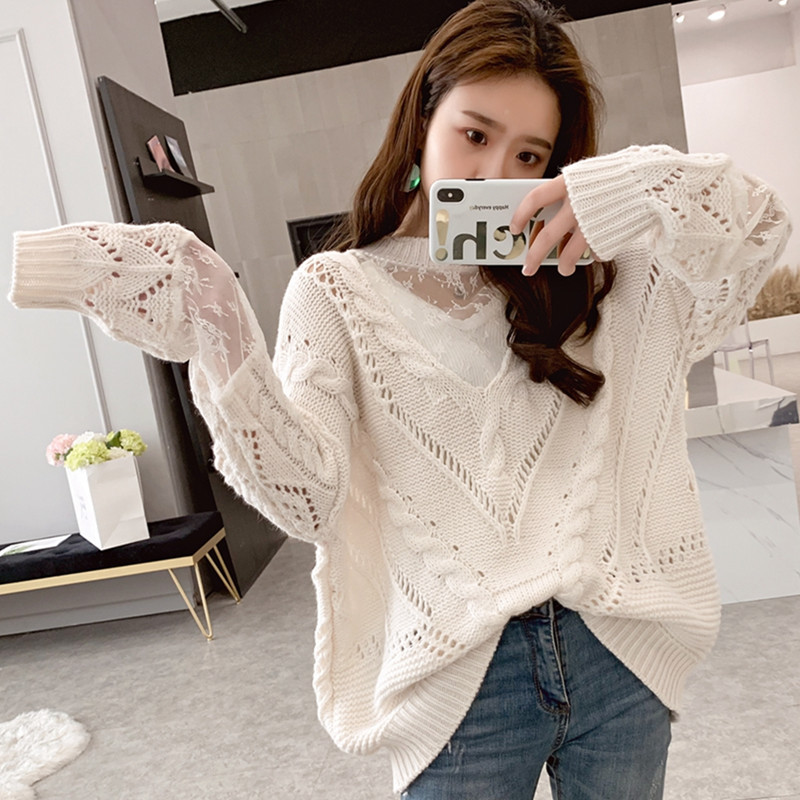 Very fairy sweater womens European station womens 2020 new spring clothes European goods versatile high collar hollowed out top fashion
